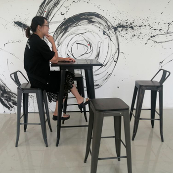 H Jinhui Modern Coffee Shop Metal Bar Stool