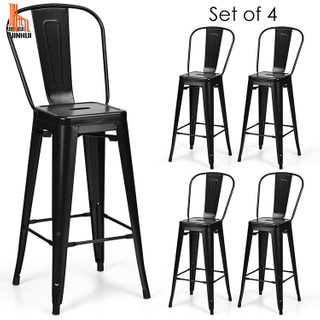 H JINHUI Counter Height Metal Stool with Back Rest Metal Counter Bar Chairs
