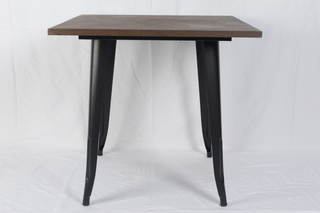 H-jinhui Dark Wood Top Metal Table