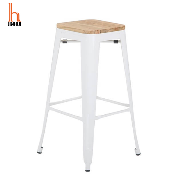 H Jinhui 26 Inch White Counter Stool with Back Wooden Seat Top