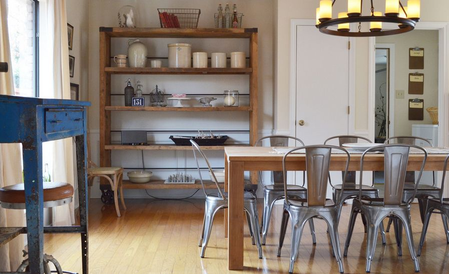 Industrial farmhouse style metal dining chairs and tables