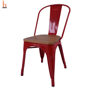 Hjinhui Red Metal Chairs with Wood Seat