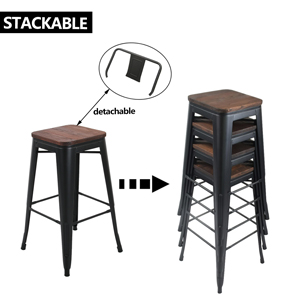 stackeable metal bar stool backless